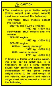 2004 Tacoma Towing Chart