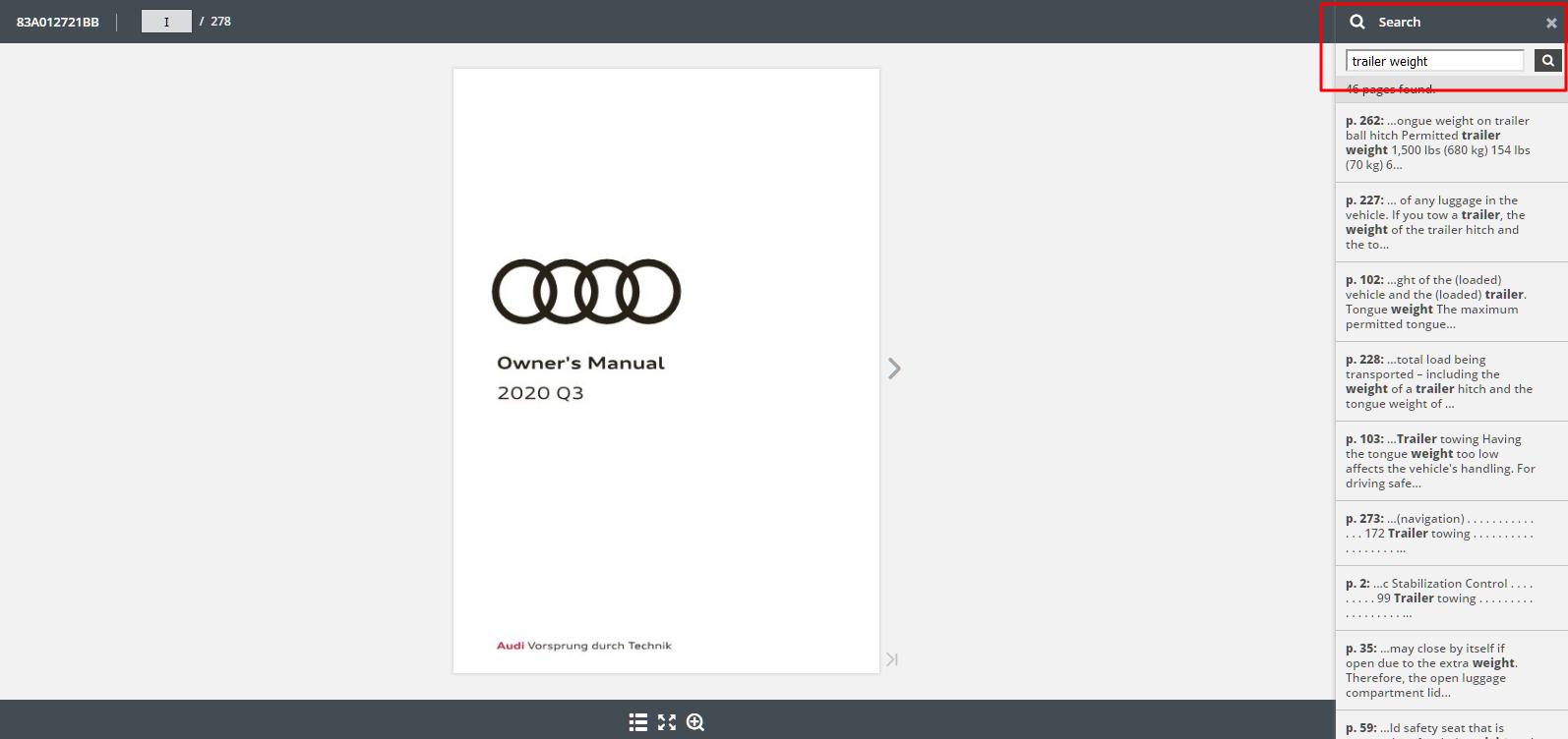 2020 Audi Q3 Owner's Manual Lookup Step 3