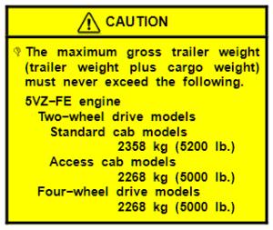 2003 Tundra Tow Chart