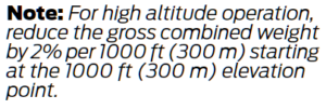 Ford Transit High Altitude Weight Compensation Notice