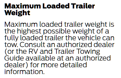 Ford's Maximum Loaded Trailer Weight Definition 1