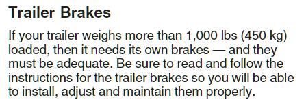 Equinox Trailer Brake Recommandations